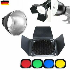 Godox Studio Flash Barndoor + Grid + 4 Filter + Bowens Mount Standard Reflektor