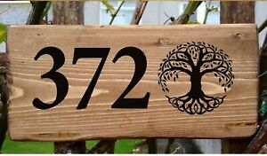 Tree of Life Door Number House Sign Personalised Wall Plaque HandMade Celtic