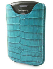 Etui cuir croco turquoise vertical Fourreau Blackberry 8520 Curve 3G  9700