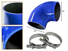 """BLUE Silicone 90 Degree Elbow Coupler Hose 2.5"""" 63 mm + T-Bolt Clamps CH"""