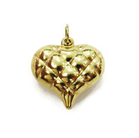 14K Yellow Gold Puffed Heart Charm Necklace Pendant ~ 1.1g