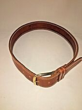 Linea Pelle Wide Leather Belt with Substantial Brass Buckle M