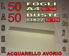 50 FOGLI A4 + BUSTE 11x22 120GR CREMA MILLERIGHE x STAMPANTE INVITI