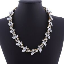 Rhinestone Crystal Leaf Sweet Clear Bead Elegant Chain Necklace Hairband