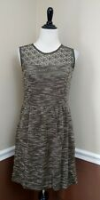 Woven Olive Green Dress M Pockets Crochet Accent Stretch Modcloth A-Line Retro