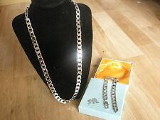 "WG1008 18K Silver WGP 24"" Necklace & 9"" Bracelet Set Men Christmas Birthday Gift"