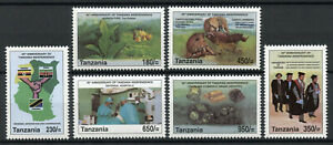 Tanzania Wild Animals Stamps 2002 MNH Independence Lions Elephants Mining 6v Set
