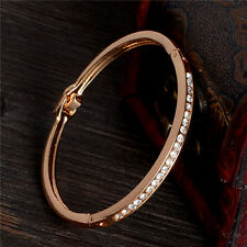 Unique Appealing 18k Rose Gold Plated Austrian crystal Bangle Bracelet Gift