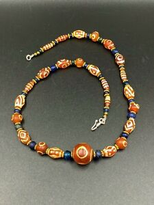 Rare Antique Etched Carnelian Beads Necklace Mala