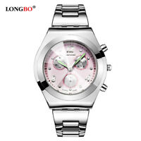 Fashion LONGBO Waterproof Women Ladies Stainless Steel Analog Quartz Wrist Watch