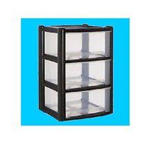 Plastic Storage Drawer Unit 3,4 Tier Cabinet Cupboard Organizer Chest Tower Tidy