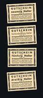 4x Notgeld Ortsgemeinde SCHÖNBERG Nieder-Österreich  30,50,75,90 Heller  1920