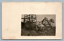 HORSE CART w/ OIL WELL ANTIQUE REAL PHOTO POSTCARD RPPC