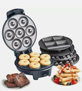 VonShef Waffle Maker Iron Doughnut Brownie Machine Snack Donut 3 in 1 Belgian
