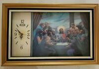 Vintage Large 1970s Eleco 3D Jesus The Last Supper  Lenticular Clock - WORKING