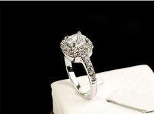 New 18K White / Rose Gold GP Swarovski Crystal Unique Ring US Size 6,7,8,9,10