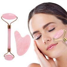 Natural Jade Rose Quartz Roller Gua Sha Board Facial Massager Skin Care Beauty