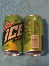 2 X FULL 12 oz Can MTN MOUNTAIN DEW ICE Lemon Lime Soda RIBBED NECK HAWAII NEW