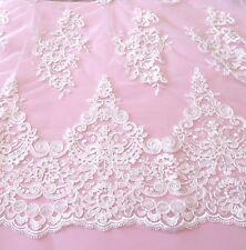White  Embroidered Double Edge Tulle Lace Bridal Tutu 138 cm #10WE232B