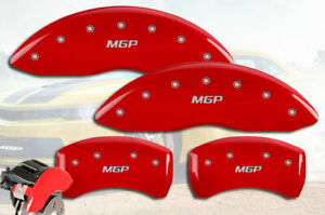 """2021 Chevrolet Traverse Front + Rear Red """"MGP"""" Brake Disc Caliper Covers 4 piece"""