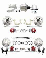 GM 1959-64 Front & Rear Chrome Power Disc Brake Conversion Kit- Red Calipers