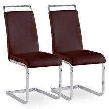 2er Set Esszimmerstuhl Küchenstuhl Polsterstuhl Freischwinger Stuhlgruppe braun