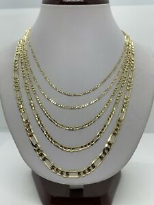 """14K Solid Yellow Gold Figaro Link Chains Necklace Men's/Women's 2mm-5.5mm16""""-30"""""""