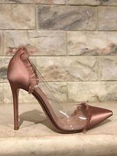 NIB Gianvito Rossi Plexi Caribe Nude Praline Plastic Clear Satin Heel Pumps 39.5