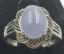 Openwork Sterling Silver 925 Purple Jade Cabochon 10mm x 8mm Ring Size 6.75