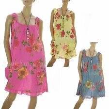Cotton Blend Floral Sleeveless Sundresses for Women