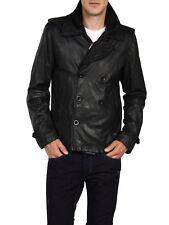 Diesel L-Kora Men Black Goat Leather Lined Peacoat Double Breasted Jacket Coat S
