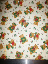 Teddy Bear Christmas Fabric, Sold by the Yard