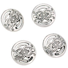 50pcs Lots Vintage Silver Flower Carved Hollow Alloy Buttons Fit Sewing Decor J