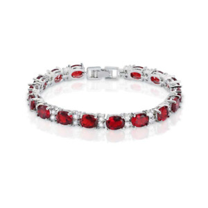 Ruby and Diamond Accents 14K White Gold-Filled Tennis Bracelet / Oval-Shaped