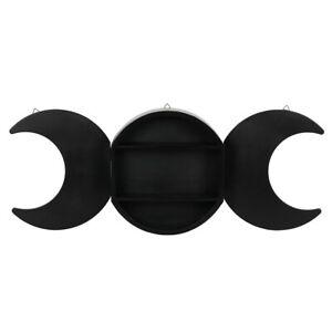 BLACK TRIPLE MOON SHELF SHELVING DISPLAY GOTHIC WALL HANGING WICCA PAGAN DECOR
