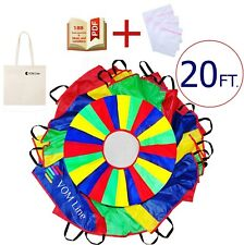 Play Parachute 20 ft for Kids with 24 Dirt Resistant-Handles