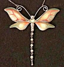 """Franz Porcelain Butterfly Necklace Rhodium Plated Brass Amazing Craft, 10"""" DROP"""