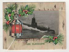 1950s USS CLAMAGORE SS-343 Submarine christmas Card US NAVY Naval ADMIRAL Photo