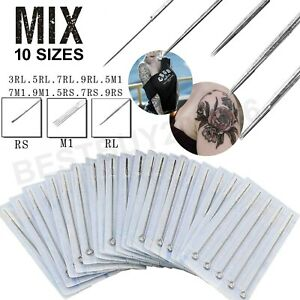 100pcs Mixed Assorted Tattoo Needles 10 Sizes-3 5 7 9RL 5 7 9RS 5 7 9M1