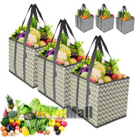 3 Pack Reusable Grocery Bags Shopping Box Bag Collapsible Durable Foldable Heavy