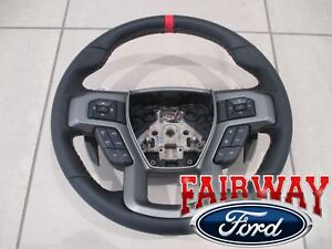 17 thru 19 F-150 OEM Ford Leather w/ Red Accent Non-Heat Steering Wheel RAPTOR