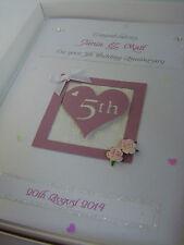 Luxury Personalised 5th Wedding Anniversary Card, Swarovski crystals boxed