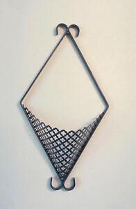 """Rare Vtg Metal Wall Mount Pierced Cloverleaf Pocket Mesh Basket Sconce 18"""" BLUE"""
