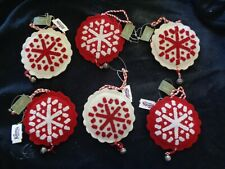 """Set of 6 Red & White Felt 5"""" Snowflakes Seasons of Cannon Falls with Tags"""
