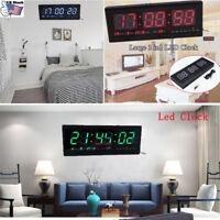 4Colors LED Digital Calendar Temperature Large Big Jumbo Home Wall Desk Clock US