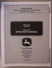 JOHN DEERE OPERATOR'S MANUAL UTILITY CART 13 AND 18 OMM151094 B4