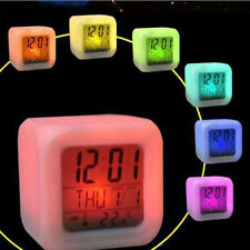 Digital Alarm Thermometer Night Glowing Cube 7 Colors Clock LED Change Clock