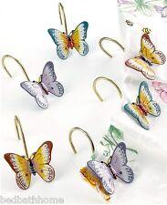 New - Lenox Butterfly Meadow Set of 12 Shower Curtain Hooks Butterfly Hooks
