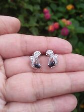 Natural Black SAPPHIRE 3x5MM Oval & White CZ Stones 925 Silver SWAN EARRINGS