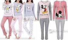 Womens Loungewear Set Snoopy Mickey Mouse Print Pyjama Top Cotton PJ's Nightwear